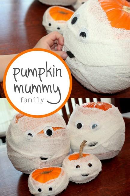 Halloween Crafts-pumpkin-mummies