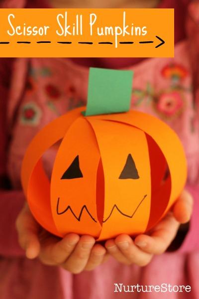 Halloween Crafts-scissor skills pumpkin