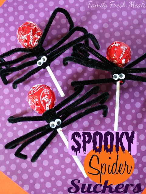 Halloween Crafts-spooky spider suckers