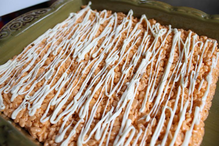 Candy Corn Rice Krispie Treats uncut