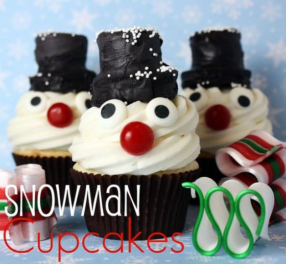 christmascookies-snowman cupakes