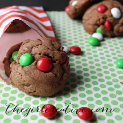 Double Chocolate Mint M&M Cookies
