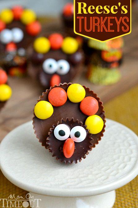 Thanksgiving Desserts-reeses turkeys