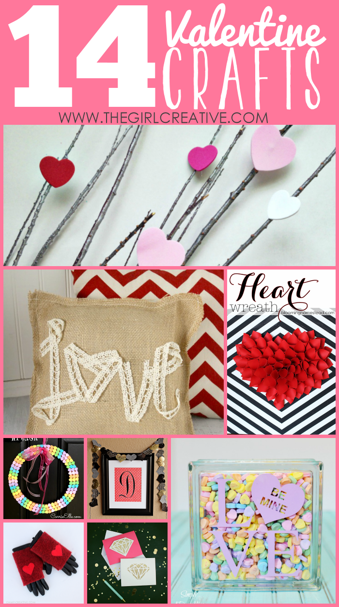 14 Valentine's Day crafts to spruce up your home to to share with loved ones. #diyinspiredfeatures #thegirlcreative