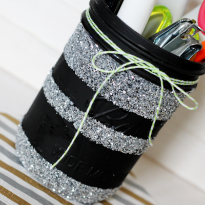 Glitter Striped Mason Jars
