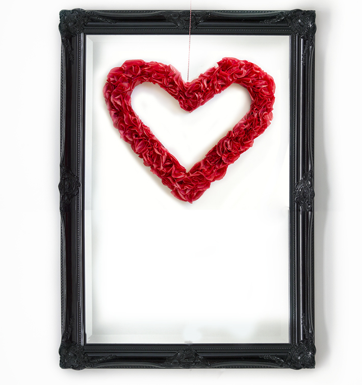 Valentine crafts-tissue paper heart wreath - two zero one