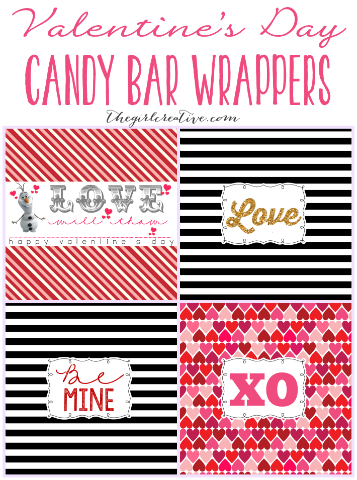 Frozen Valentine's Day Printables, Printable candy bar wrappers