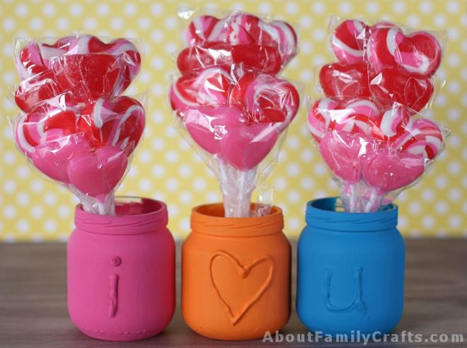 valentine crafts-i love you embossed jars - about family crafts