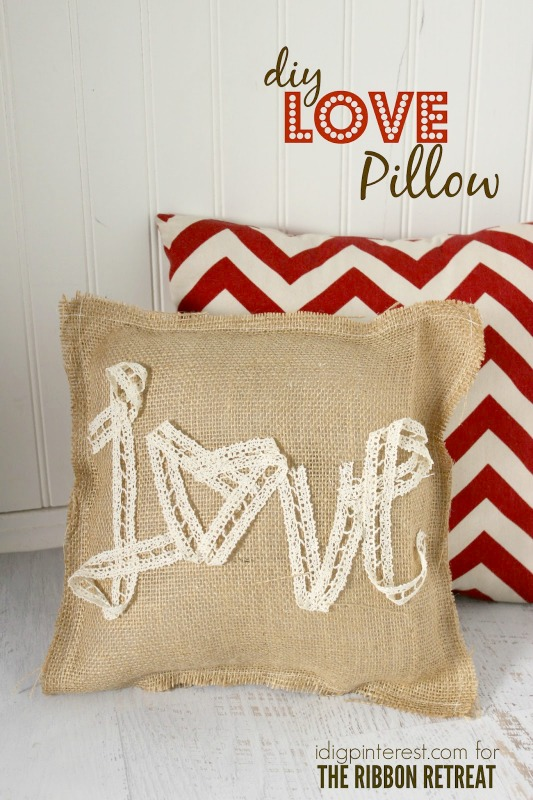 valentine crafts-love pillow-ribbon retreat