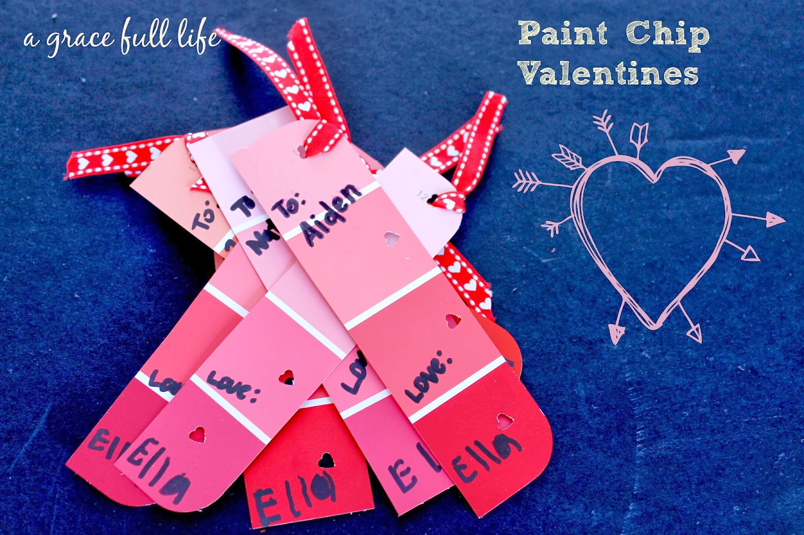 valentine crafts-paint chip bookmarks-a graceful life