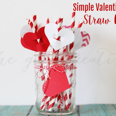 Simple Valentine's Day Straw Flags