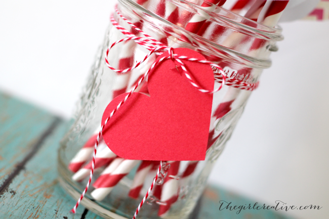 Valentine's Day Straw Flags-closeup