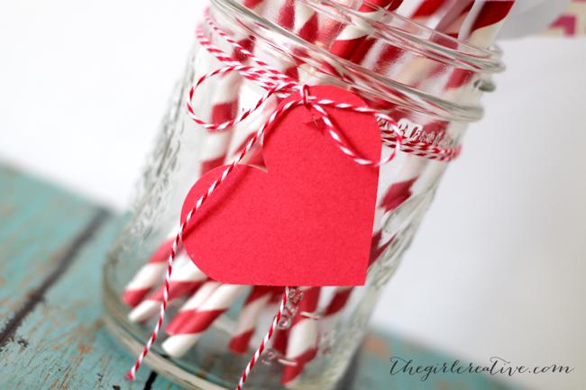 Valentine's Day Straw Flags-closeup