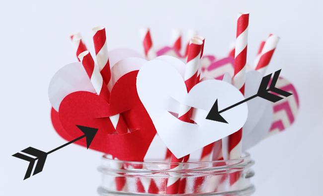 Valentine's Day Straw Flag