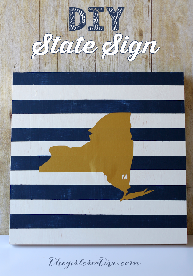 DIY State Sign - The Girl Creative -This easy striped DIY State sign