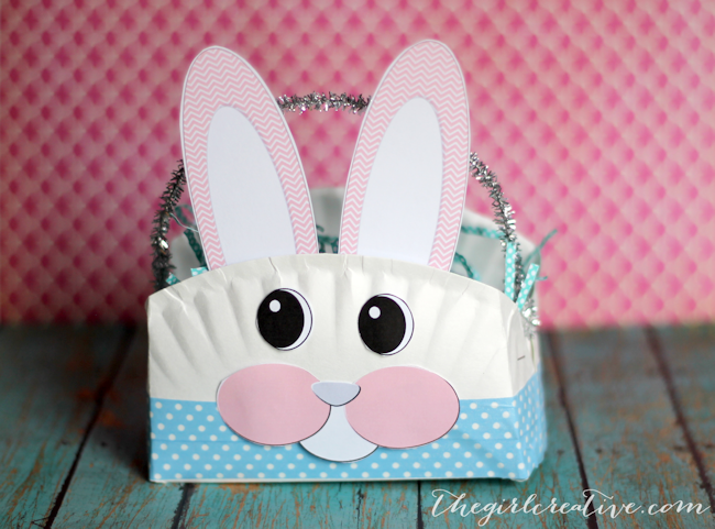 Paper Plate Easter Bunny Basket The Girl Creative