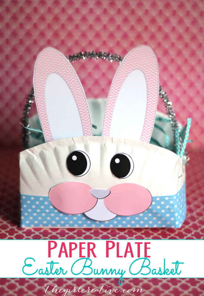 Paper Plate Easter Bunny Basket   Super fun Easter craft to do with your littles. #eastercrafts #diy #easter #kidscrafts