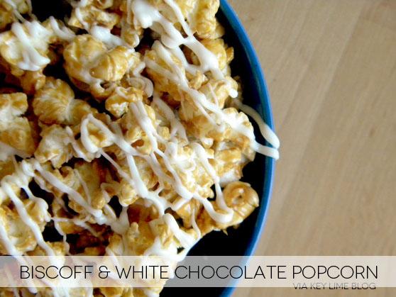 popcorn-biscoff and white chocolate popcorn