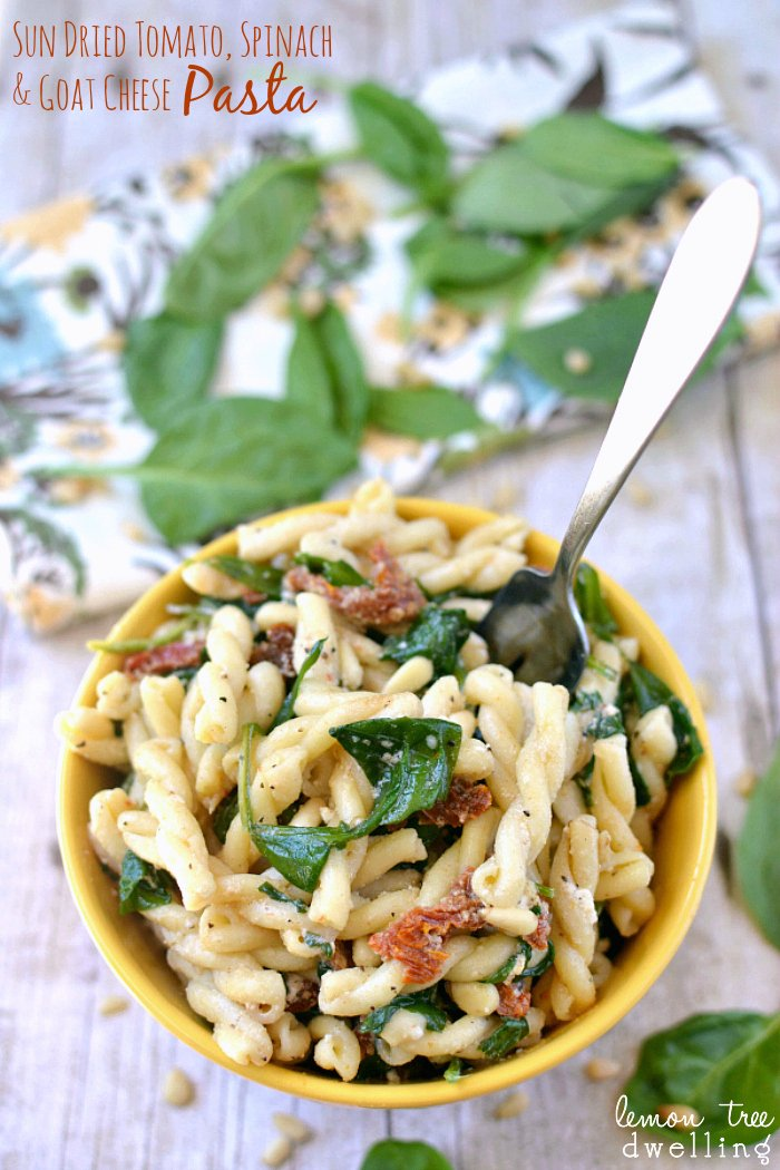 sun dried tomatoes spinache and goat cheese pasta - lemon tree dwelling