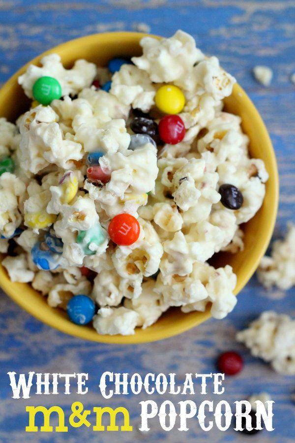 white chocolate M&M popcorn