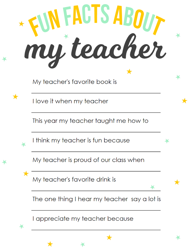 image relating to All About My Teacher Free Printable called Instructor Appreciation Printable: Entertaining Details Around My Trainer