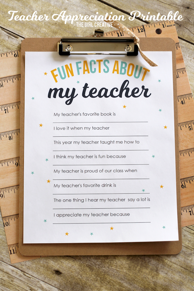 image regarding All About My Teacher Free Printable named Instructor Appreciation Printable: Exciting Information Over My Trainer