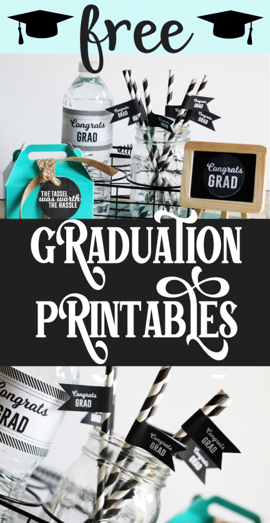 Water bottle with Congrats Grad custom label and black drink flags that say Congrats Grad