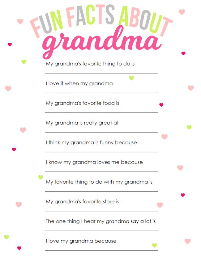 Fun Facts About Grandma Mother's Day Printable | Mother's Day Questionairre