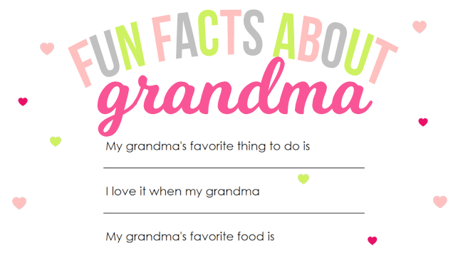 Mother's Day Printable for Grandma | The Girl Creative We can't forget about Grandma this Mother's Day. This fun printable questionnaire is sure to put a smile on Grandma's face. Download Fun Facts About Mom, Fun Facts About My Teacher and Fun Facts About Dad at www.thegirlcreative.com