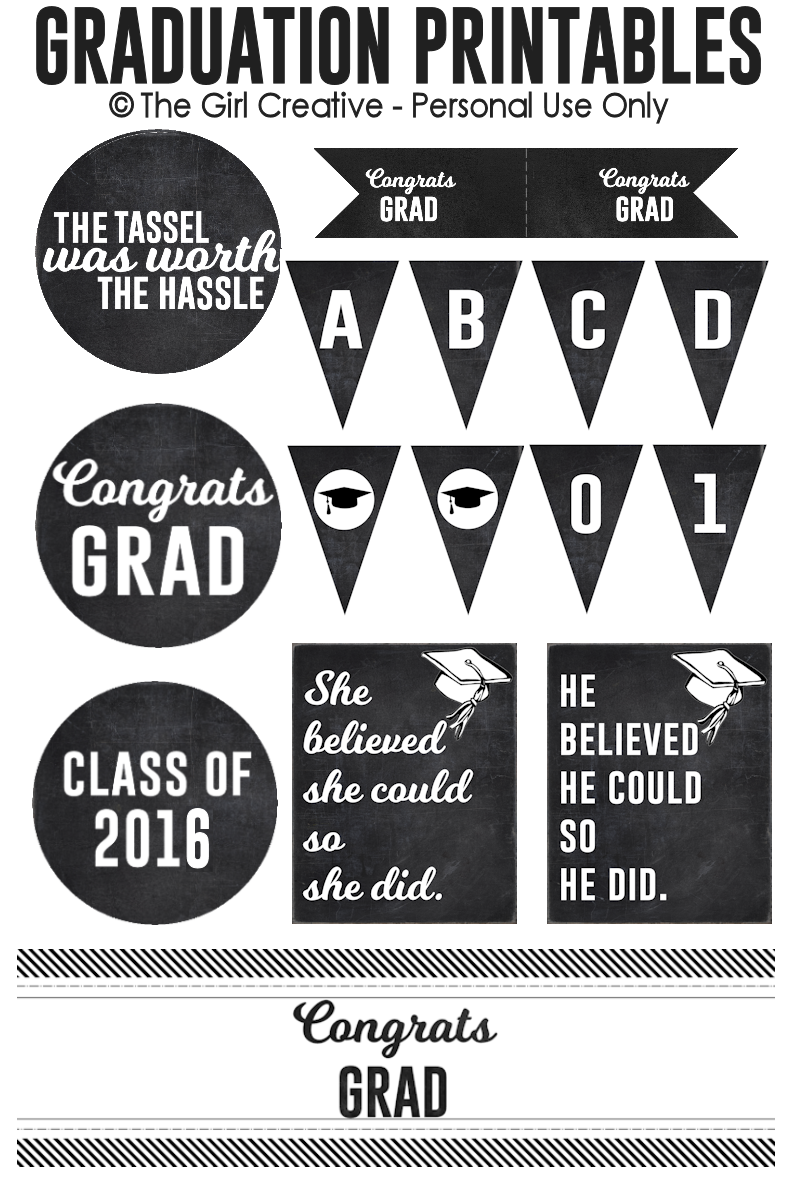 Graduation Printables - Everything you need for your graduation party. Printable banners, cupcake toppers, drink flags, water bottle labels, table signs