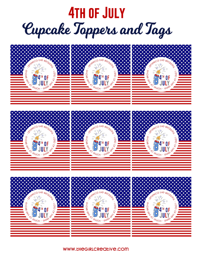 4th of July Cupcake Toppers and Tags