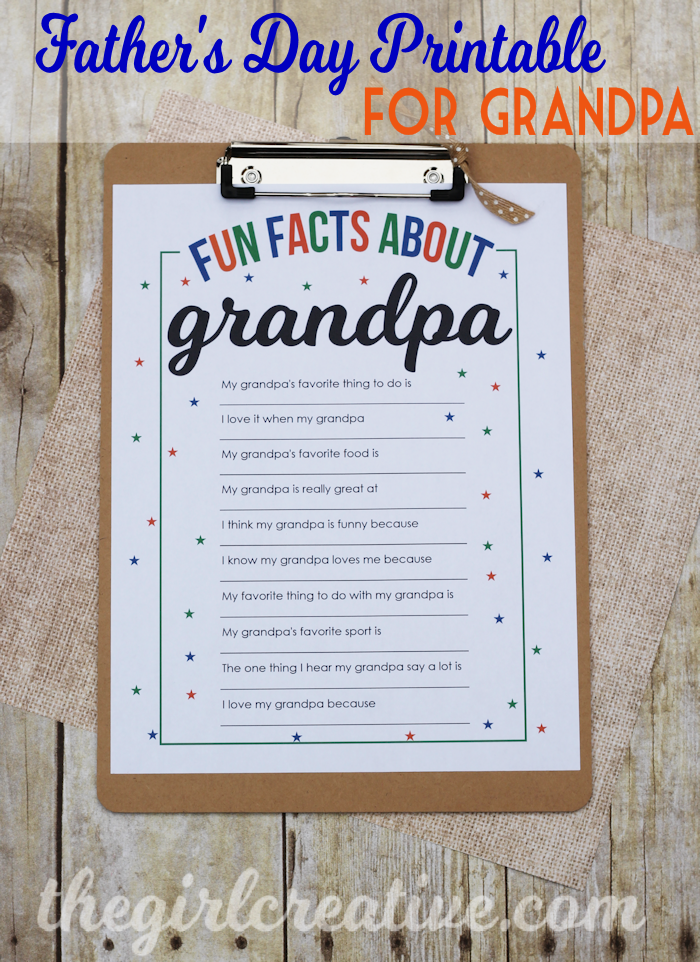 photo relating to All About My Papa Printable named Pleasurable Details Over Grandpa - The Lady Artistic