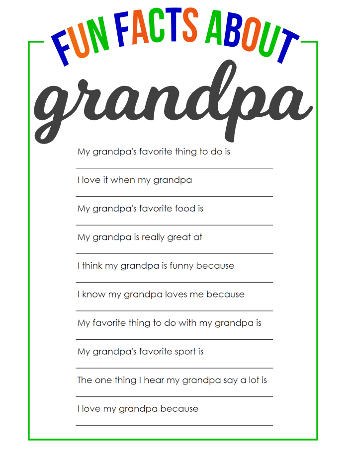 image relating to Grandpa Questionnaire Printable called Enjoyable Info Regarding Grandpa - The Woman Inventive