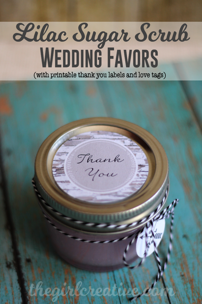 Homemade Lilac Sugar Scrub Wedding Favors - Simple recipe plus free thank you labels and cute love/arrow tags #wedding #diy #sugarscrub #favors #party