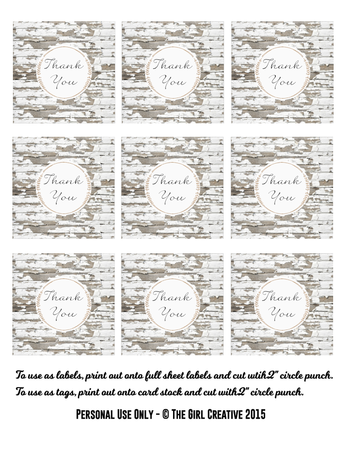 Rustic Thank You Labels - Free Printable