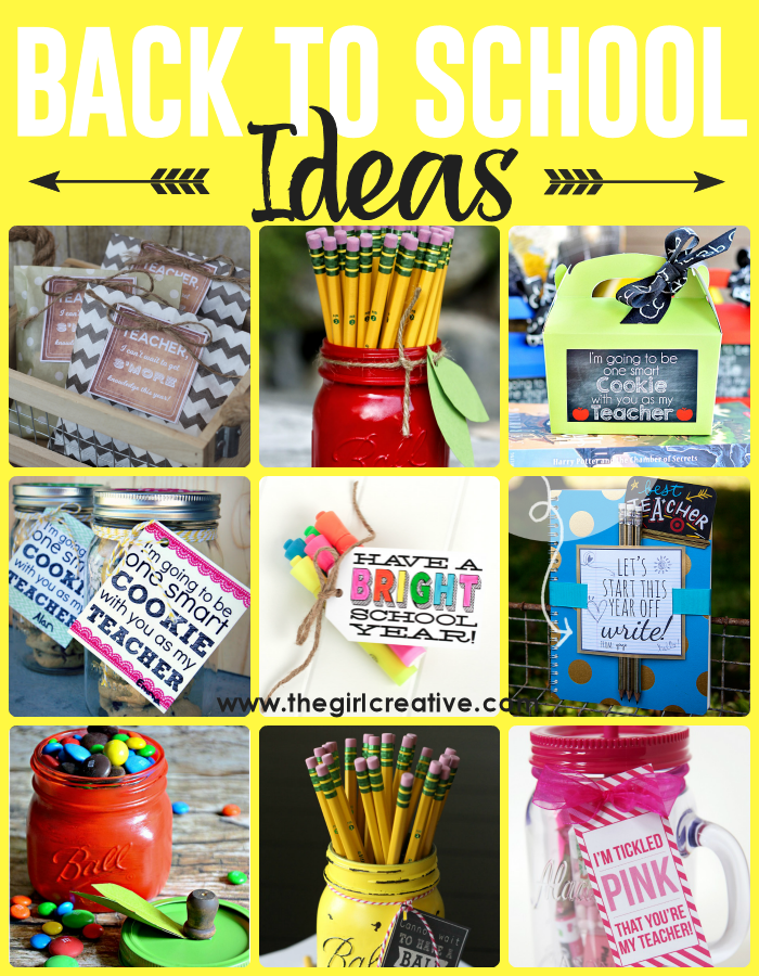Creative DIY Back to school ideas - great teacher gift ideas for the first day of school. Free back to school printables