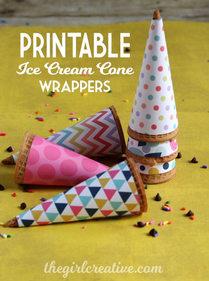 Free printable ice cream cone wrappers for parties, events or just because. Print out on your home printer and make ice cream time fun for your kids.