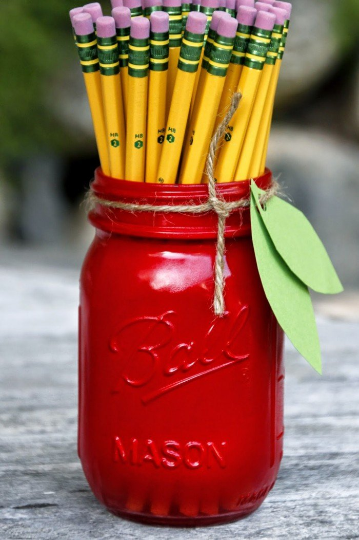 back to school-apple mason jar