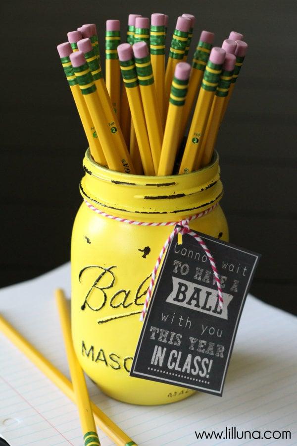 back to school - yellow ball mason jar - lil luna