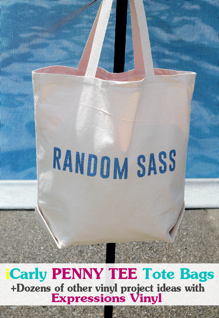 iCarly Penny Tee Tote Bags - Tote bags inspired by the silly penny tees worn on iCarly. Easy crafty idea using #ExpressionsVinyl