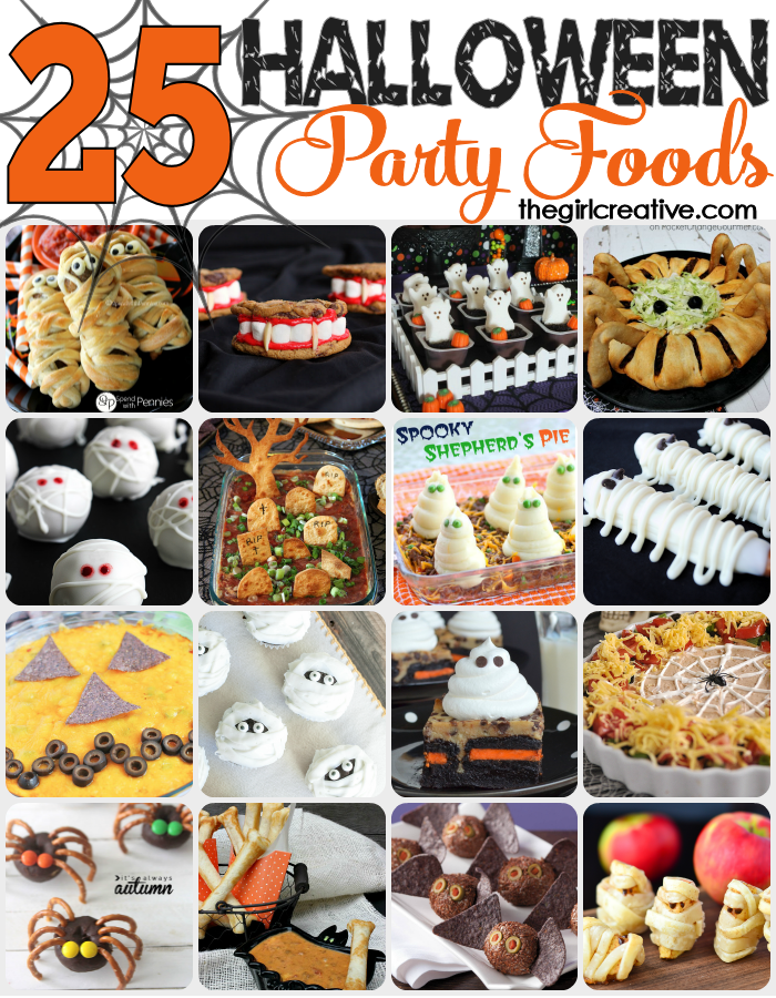 25 spooky, fun and delicious Halloween party foods. Desserts, appetizers and dips. You can't go wrong with this collection.