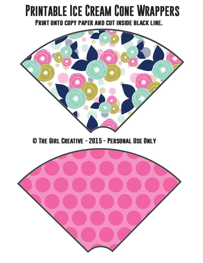 Ice Cream Cone Wrappers - Flowers and Pink Polka Dots