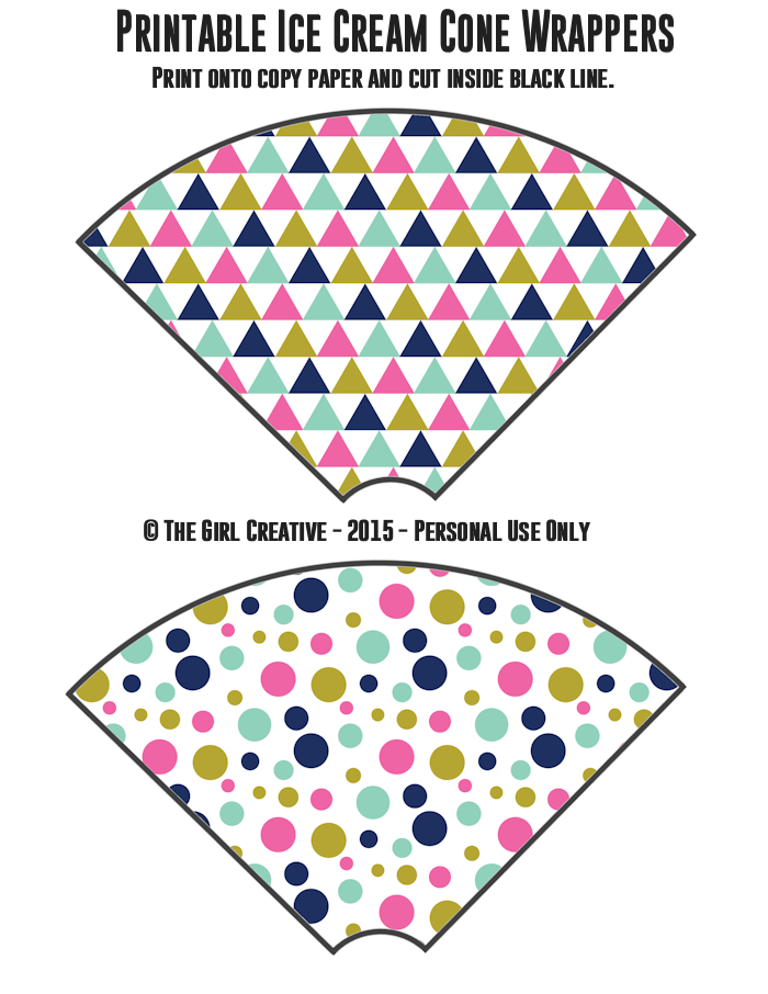 Ice Cream Cone Wrappers - Triangles and Bubble Dots