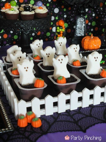 halloween - graveyard pudding cups - party pinching
