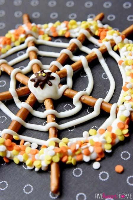 halloween - pretzel candy spider web