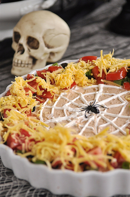 halloween - spider web mexican layer dip