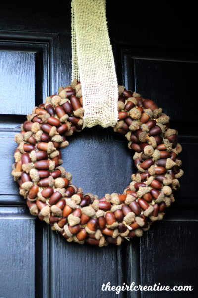 This DIY Acorn Wreath is perfect for your front door or your fall mantel. Easy to make and can be used year after year.