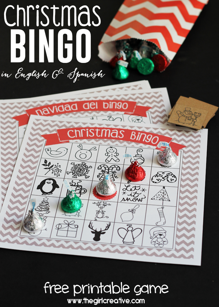 Printable Christmas Bingo Game - available in both English AND Spanish - create memories with your kids during the holiday season and enjoy a round of Christmas bingo. Includes 4 game board in English and 4 in Spanish with a set of calling cards.