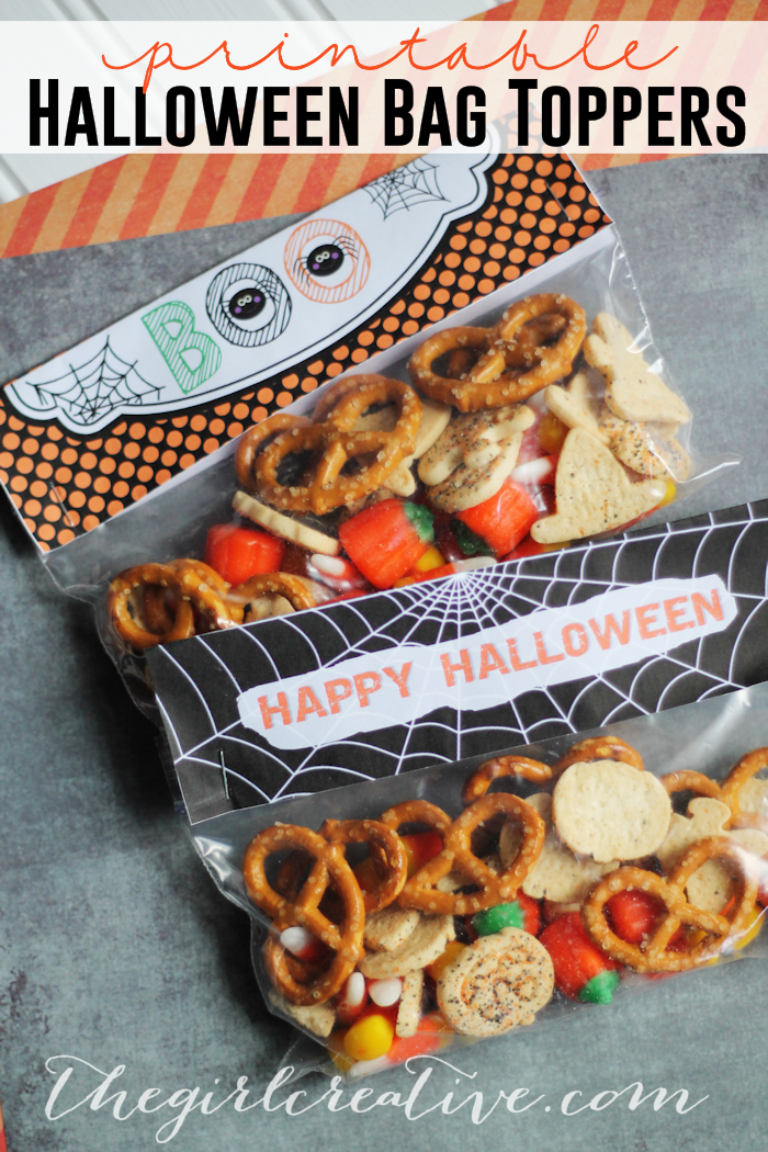 Printable Halloween Bag Toppers - perfect for the classroom Halloween party!