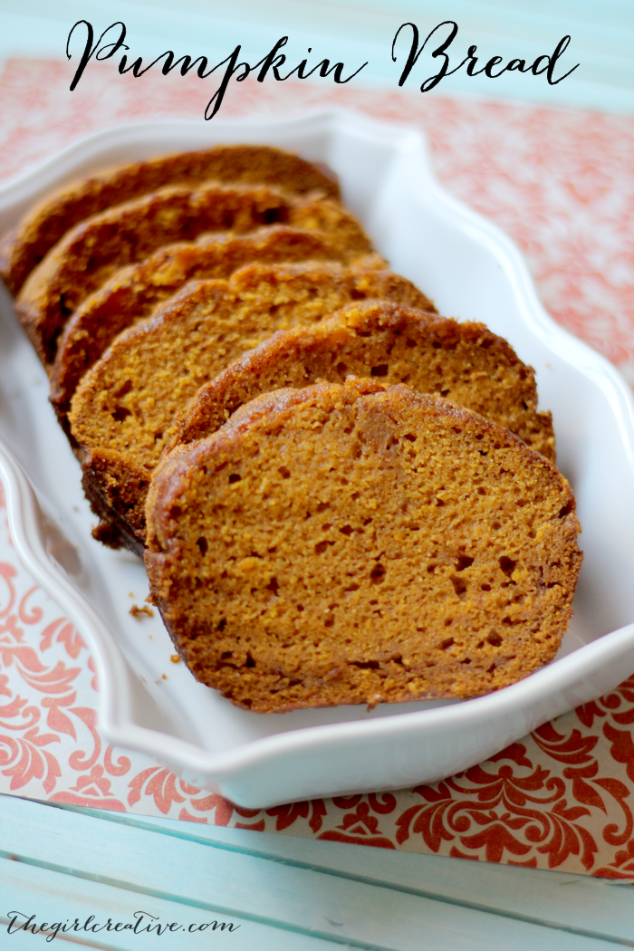 Delicious Pumpkin Bread - make as a loaf or muffins. If you choose make muffins, recipe will yield about 36 muffins and they are each only 5 Weight Watchers Points!